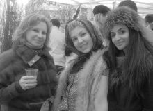 Maryana Greenberg, Mari Vanna hostess and Farzana Baduel in the Mari Vanna tent.