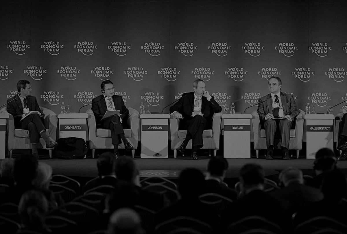 Photo of a conference at the World Economic Forum Davos