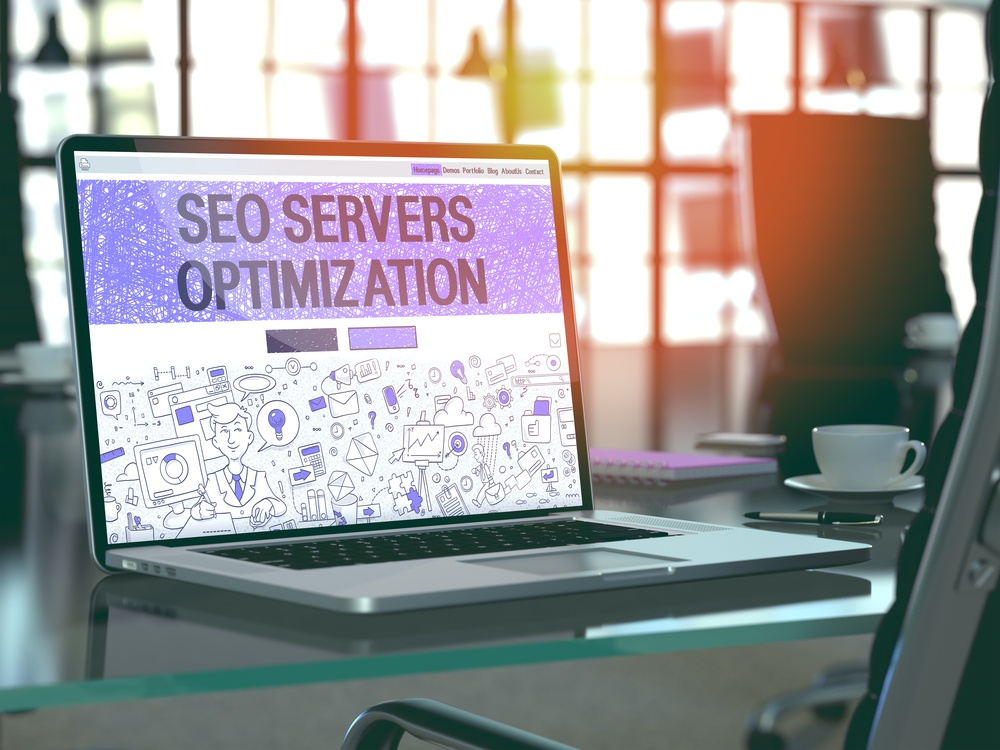 SEO Servers Optimization - Closeup Landing Page in Doodle design Style on Laptop Screen. On Background of Comfortable Working Place in Modern Office. Toned, Blurred Image. 3D Render.